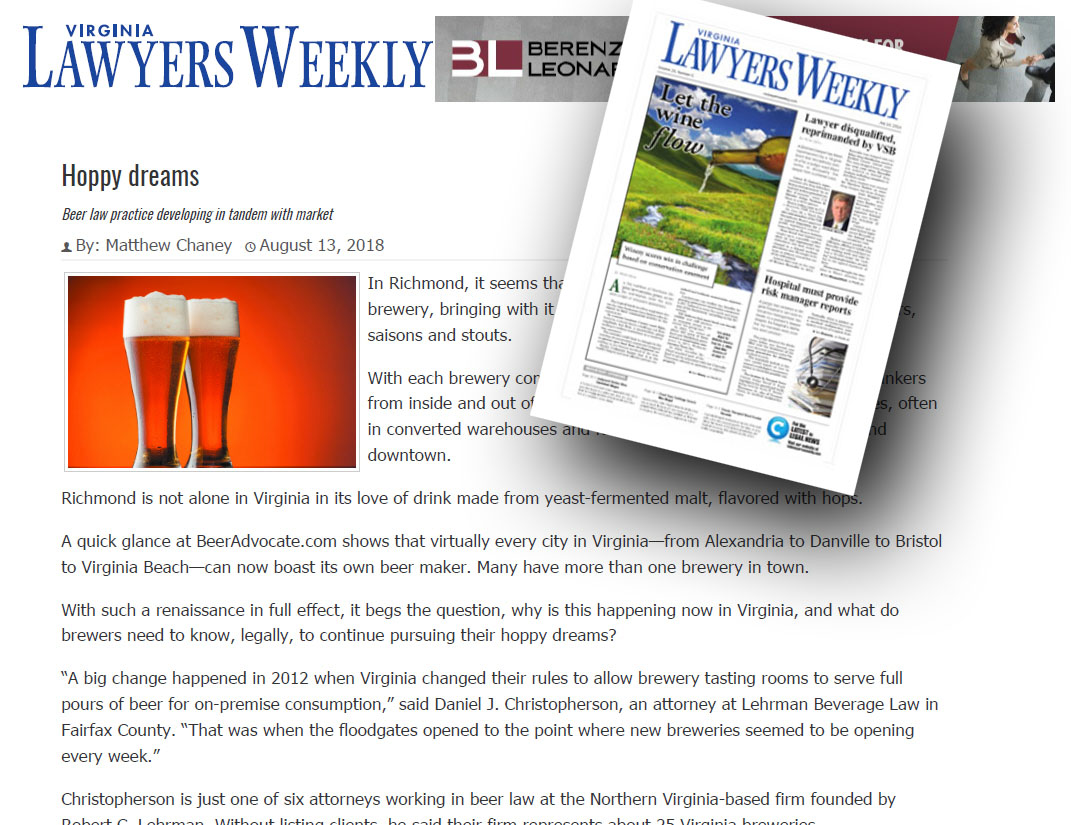 Virginia Lawyers Weekly, Beer Law